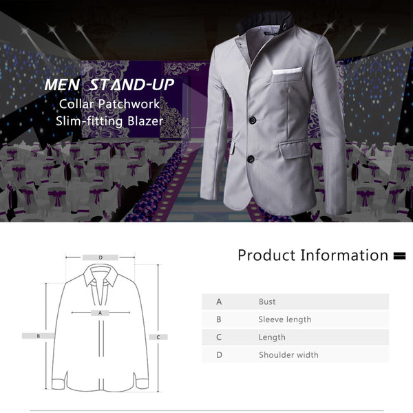 Slim Color Block Men Dress Party Blazer 1243