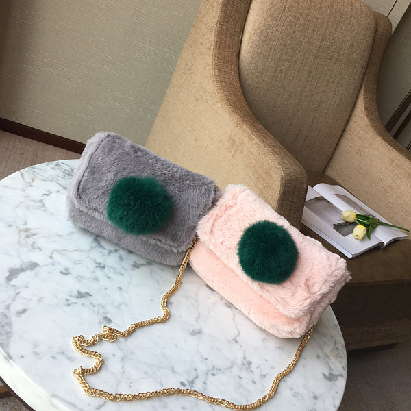 Color Blocking Mini Fur Shoulder Bags Chains Straps 3764
