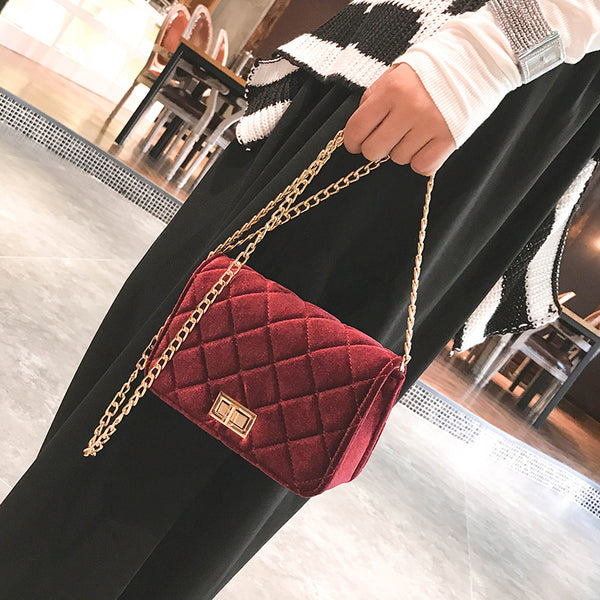 Plaid Velvet Crossbody Bags for Women 3717