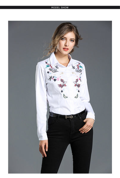 Autumn New Women'S Embroidery Slim Long-Sleeved Wild Lapel White Shirt 1121
