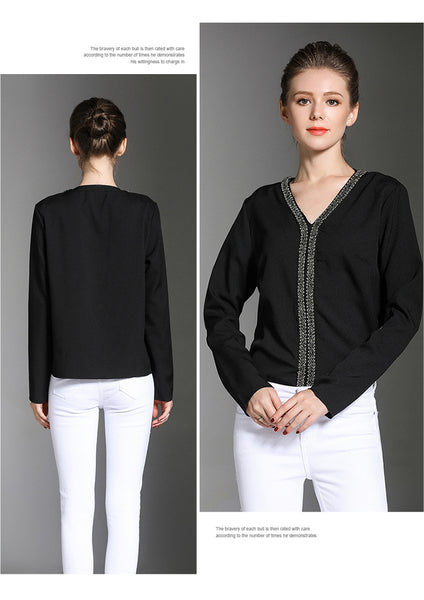 New Loose V-Collar Long -Sleeved Chiffon Shirt 8967
