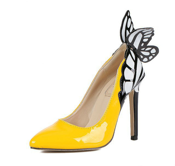 Butterfly Pointed Toe Pumps High Heels 8438