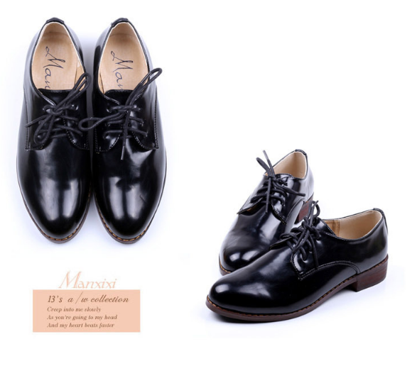 Lace Up Faux Leather Low Heeled Oxford Shoes 4065
