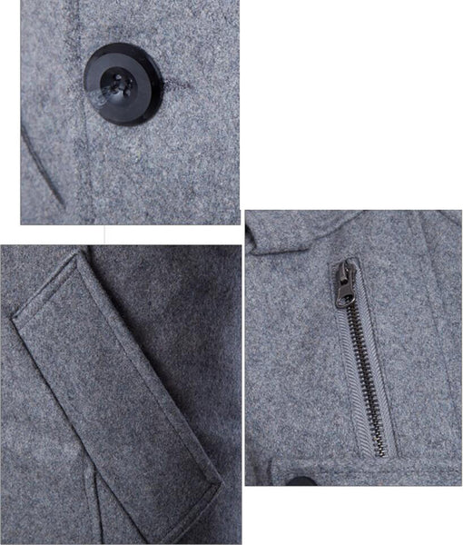 Men's Double Breasted Long Sleeve Turndown Collar Cotton Coat 4399
