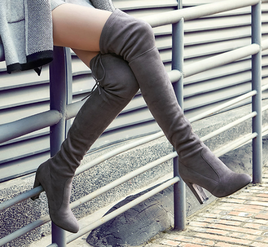 Velvet High Heels Chunky Thigh High Boots  for Women 7966
