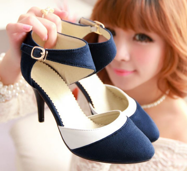 Pointed Toe Suede Sandals High Heels Women Shoes 4130
