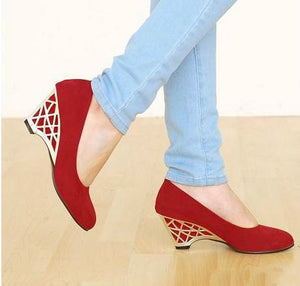 Suede Wedges Heels Shoes for Women 4396