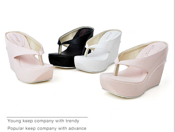 Women Flip Flops Sandals Platform Wedge Heels Shoes for Summer 3284