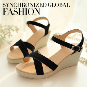 569f826c160 Genuine Leather Women Sandals Wedge Heels Shoes for Summer 2673 ...