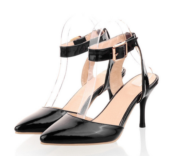 Pointed Toe Ankle Strap Buckle Stiletto High Heels Sandals Pumps Women Shoes 3093