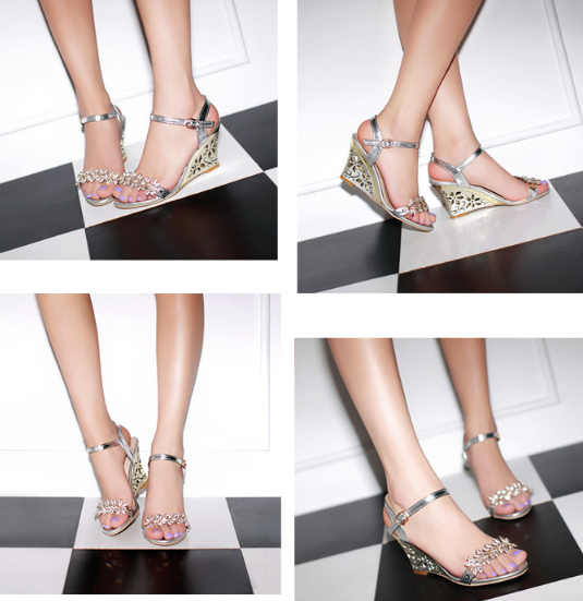 Ankle Strap Rhinestone Wedge Sandals High Heels Shoes Woman 9782