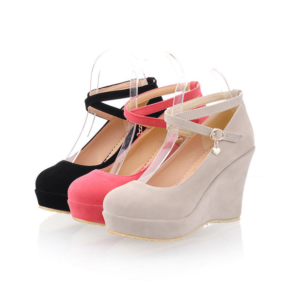 Cross Straps Platform Wedges Heels Shoes for Women 9050