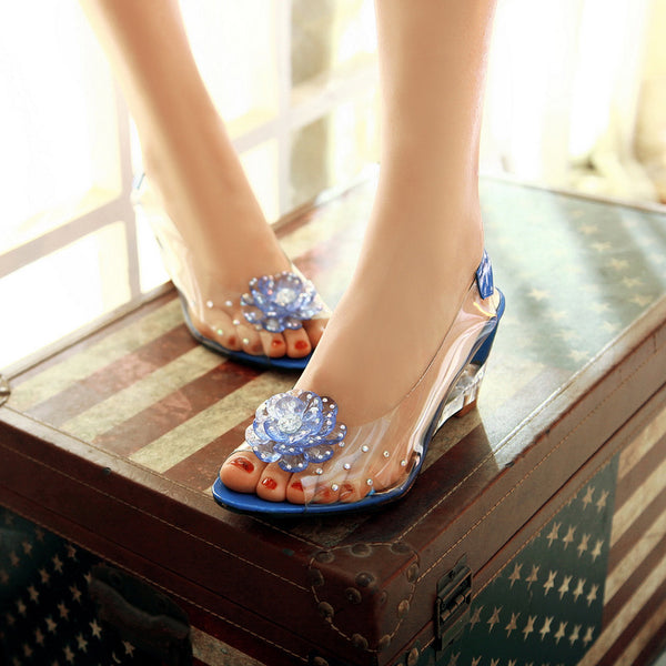 Peep Toe Flower Rhinestone Women Sandals Wedge Heels Shoes for Summer 7414