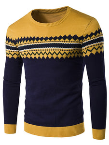 Men's Round Neck Line Pattern Warm Sweater
