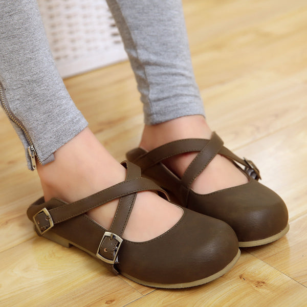 Cross Straps Buckle Women Flat Shoes 5722