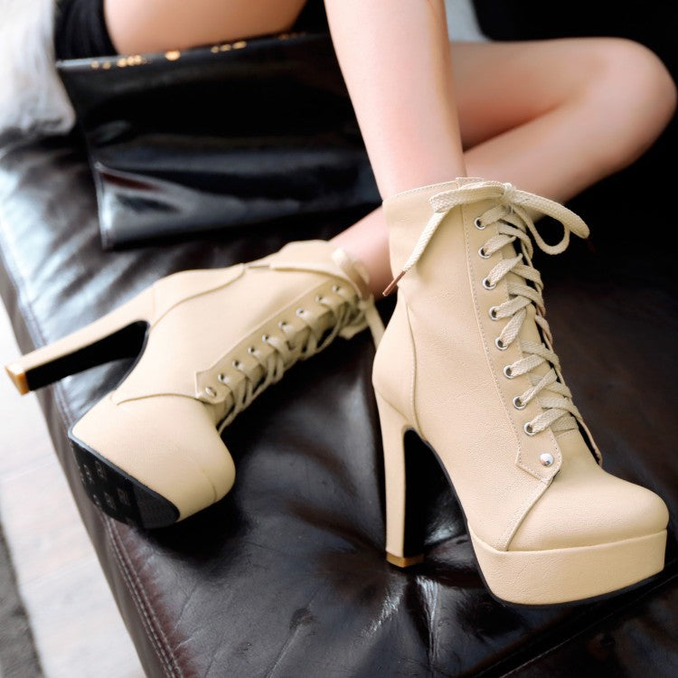 Women's Lace Up Platform Ankle Boots Heels Shoes Autumn and Winter 7728