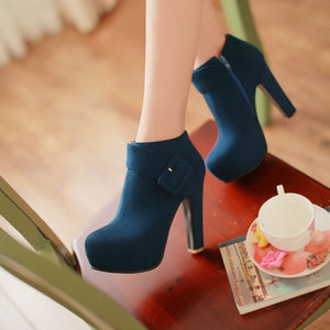 Zip Platform High Heels Short Boots Plus Size Women Shoes 3959