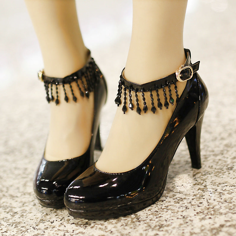 Women's Ankle Straps Tassel Platform High Heels Crystal Shoes 7593