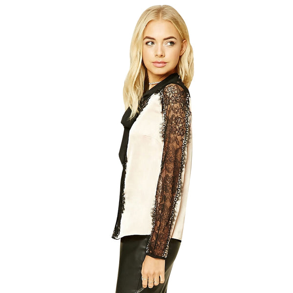 Sexy Hollow Lace Lashes  Stitching OL Long-Sleeved Shirt 3409