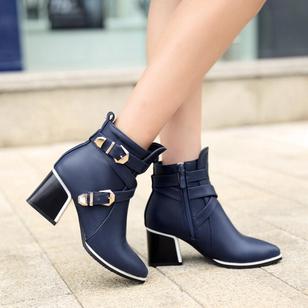 Pointed Toe Short Motorcycle Boots Chunky Heels Plus Size Women Shoes 3274