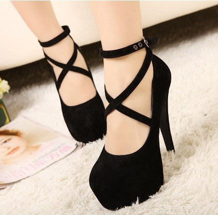 Faux Suede Strappy Platform Pumps High Heels Club Shoes 1444