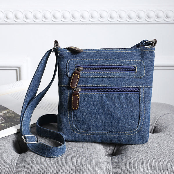 Vintage Zip Denim Cowboy Shoulder Bags for Women 2753