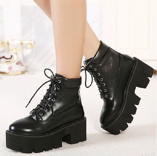 Lace Up Motorcycle Boots Platform Heels 5948