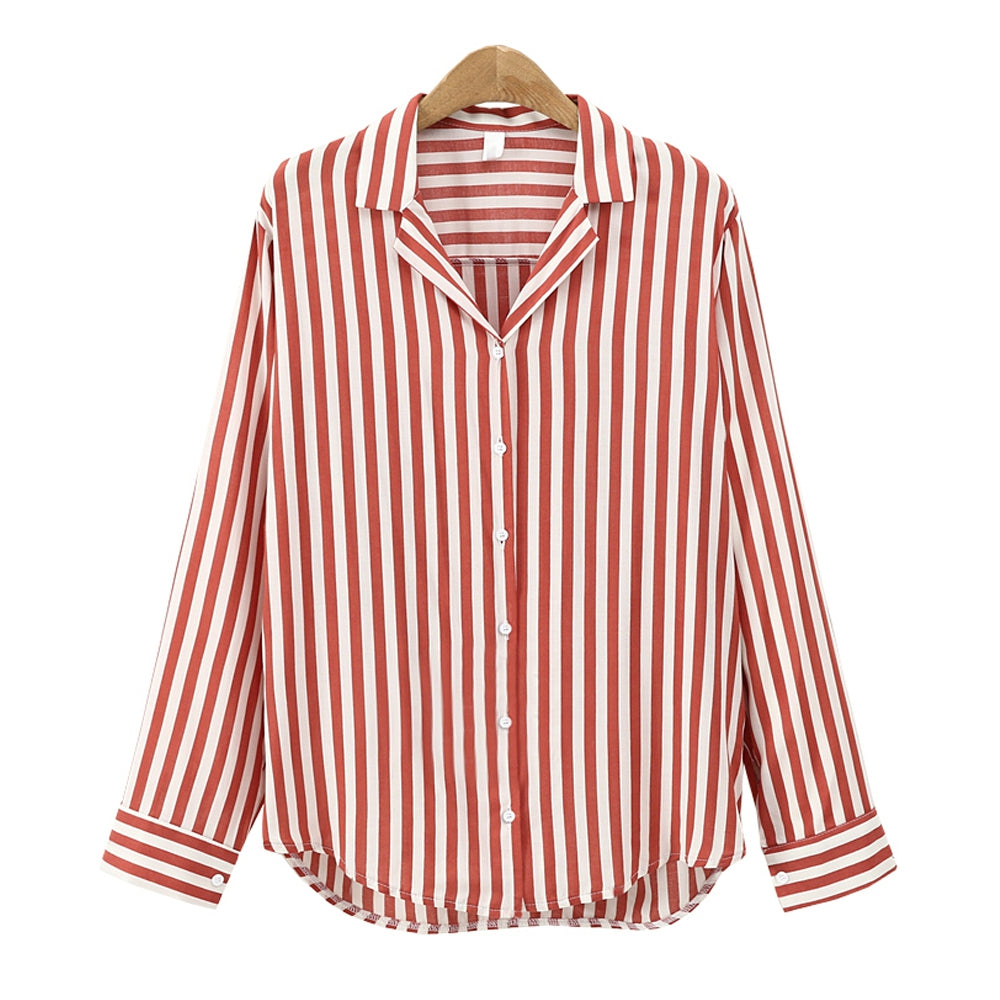 Europe and The United States Suit Collar Wild Striped Long Sleeved Shirt 7296