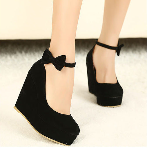 Bowtie Suede Ankle Straps Platform Wedges Shoes 1790