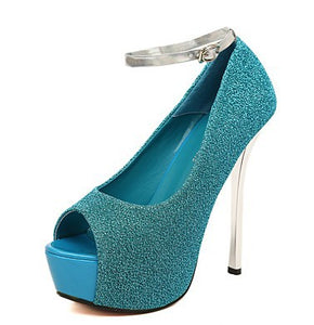 Glitter Ankle Straps Peep Toe Platform Pumps High Heels Wedding Shoes 1792