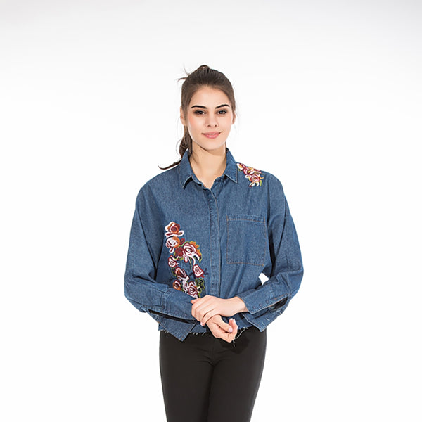 Denim Long Sleeve Embroidered Shirt 6740
