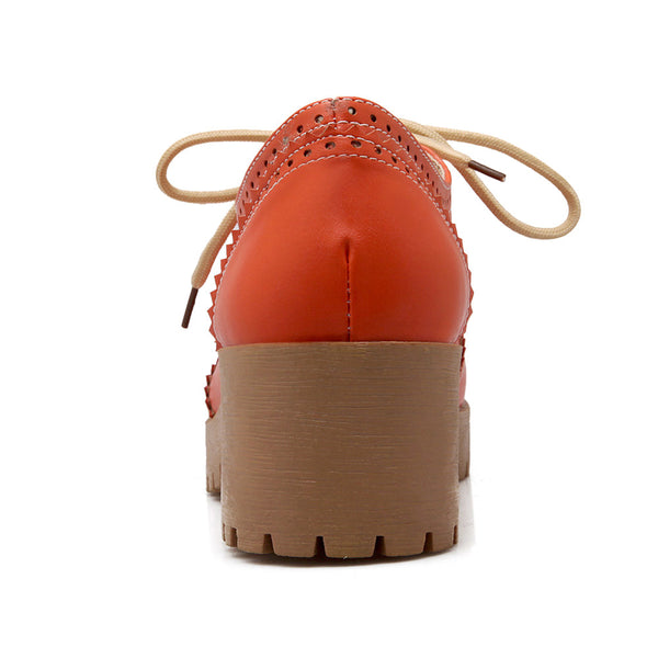 Round Toe Lace Up Women Mid Heels Shoes 3003