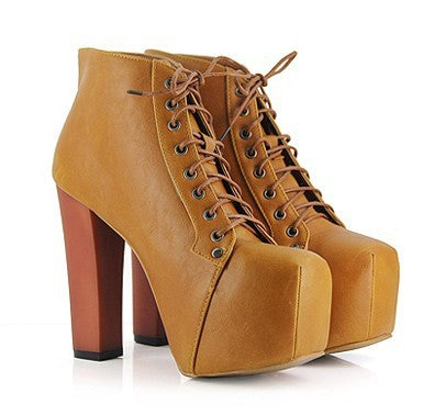 Square Toe Lace Up Platform Ankle Boots High Heels 3633