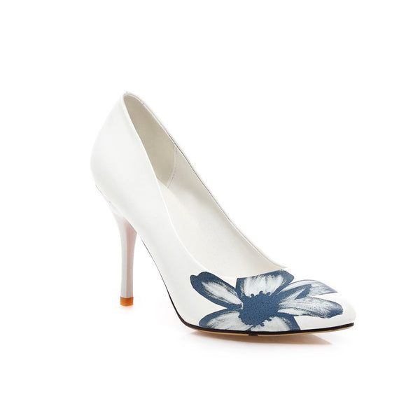 Pointed Toe Flower Printed Pumps Women Stiletto High Heels Shoes 9446