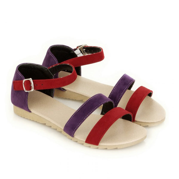 Women Ankle Straps Buckle Flat Sandals Shoes 8160