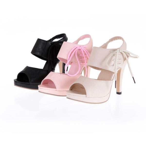 Women's Ankle Straps Peep Toe Platform Sandals High Heels Shoes 9516