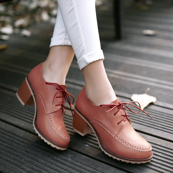 Lace Up Women Mid Heels Oxford Shoes 3330
