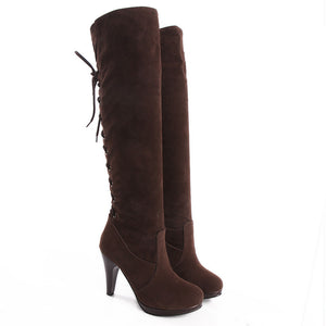Flock High Heels Tall Boots for Women 6139
