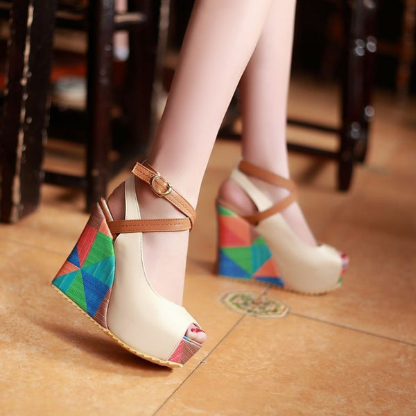 Peep Toe Straps Women Sandals Wedge Heels Shoes for Summer 5490