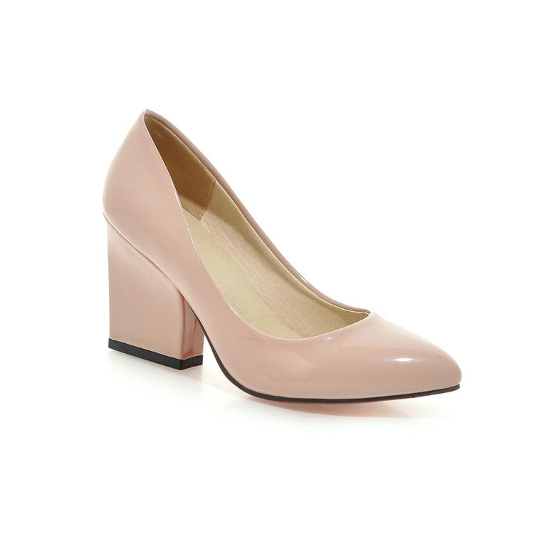 Pointed Toe Pumps Women Stiletto High Heels Thick Heel Shoes 2593