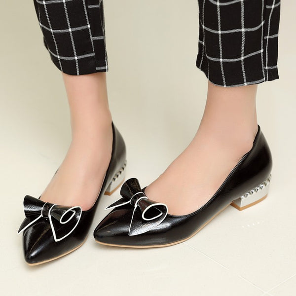 Pointed Toe Bowtie Women Flat Shoes 2629