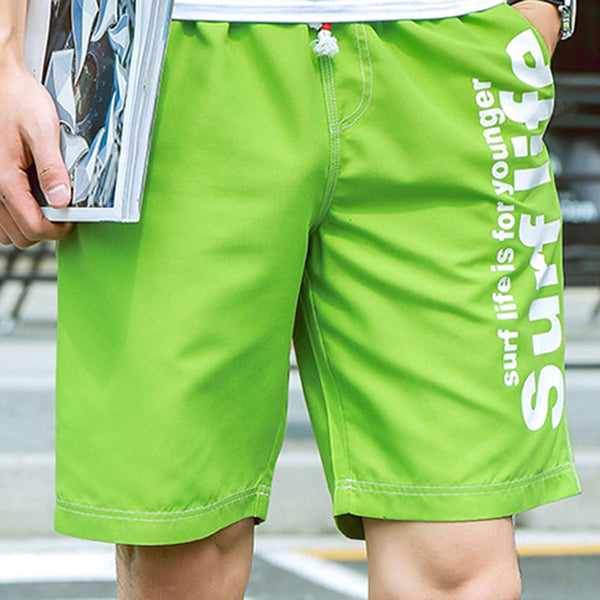 Men's Casual Letter Print Elastic Waist Drawsting Beach Shorts
