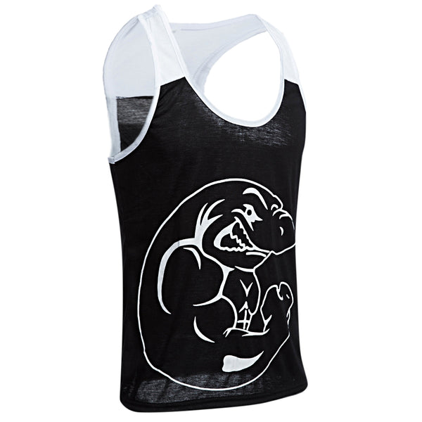 Active Scoop Collar Animal Print Color Block Racerback Gym Tank for Men 2580