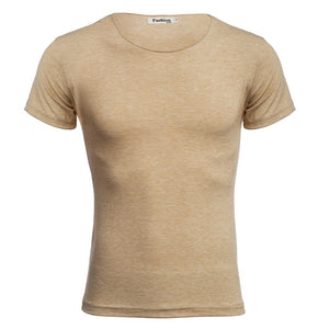 Casual Round Collar Short Sleeve Solid Color Cotton Blend T-Shirt for Men 9702