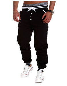 Men's Casual Button Design Elastic Drawsting Loose Sports Pants