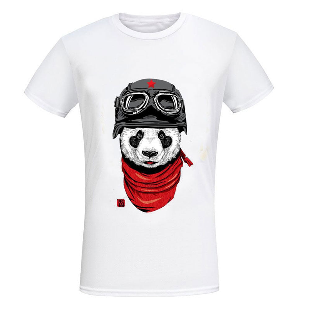 Casual Male Panda Print Round Neck Short Sleeve Shirt 3365