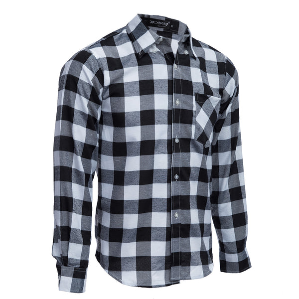 Slim Fit Turn-down Collar Long Sleeve Male Casual Plaid Shirt 5615