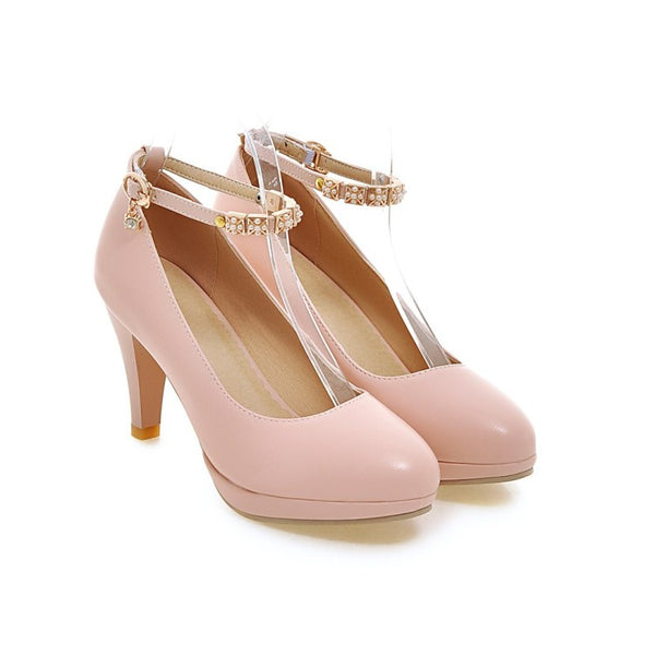 Pointed Toe Pumps Women Ankle Straps High Heels Shoes 3904
