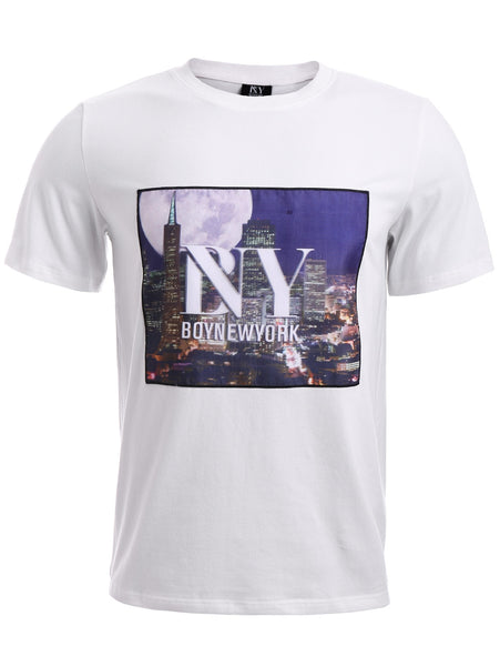 BoyNewYork 3D City Building Printed Round Neck Shorts Sleeve T-Shirt for Men 7716