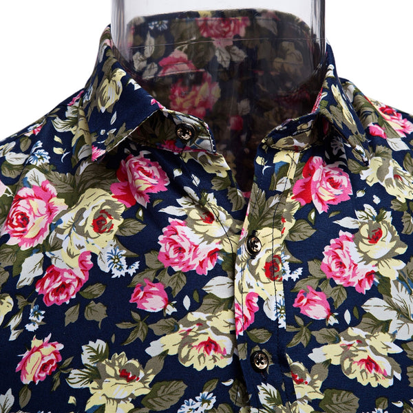 Floral Print Turn Down Collar Long Sleeve Casual Shirt for Male 3837
